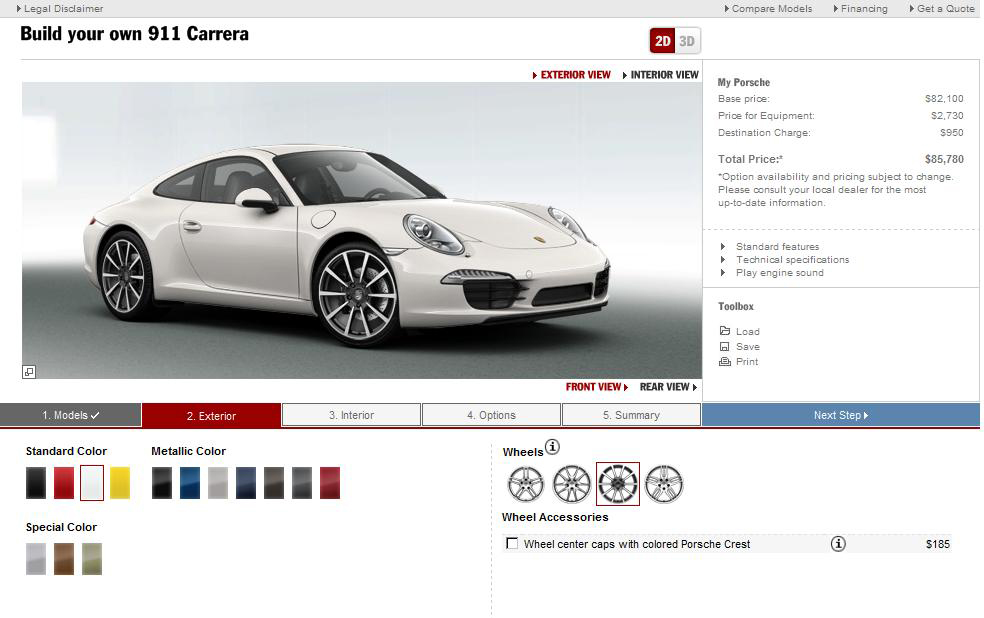 2012 Porsche 911 Online Configurator Goes Live