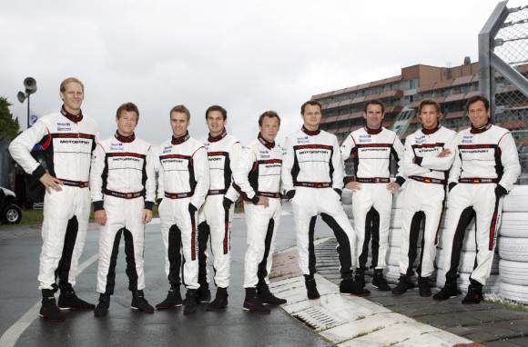 (L-R) Jörg Bergmeister, Patrick Long, Timo Bernhard, Richard Lietz, Patrick Pilet, Marc Lieb, Romain Dumas, Marco Holzer, Wolf Henzler, Porsche works drivers